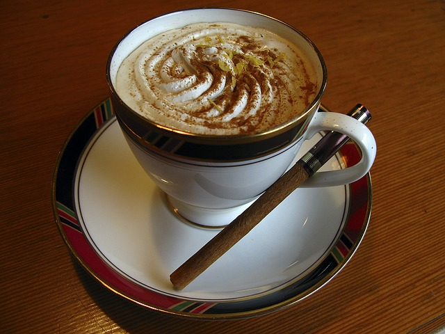 ウインナーコーヒーにシナモンパウダーをかてシナモンスティックを添えて