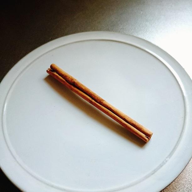 お皿に乗ったシナモンスティック一本