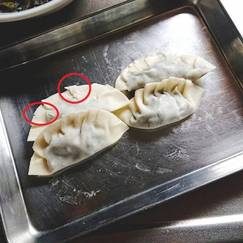 冷凍した餃子の皮で具材を包んだら皮がかたくて閉じ口が割れた餃子