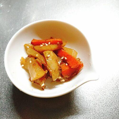 菊芋と人参の醤油炒め